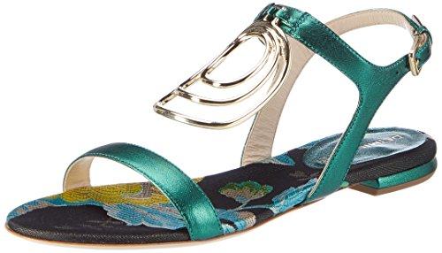 Dei Mille Women's Dominga Wedge Heels Sandals Green (Smeraldo / Silver) ltzhQZWeR