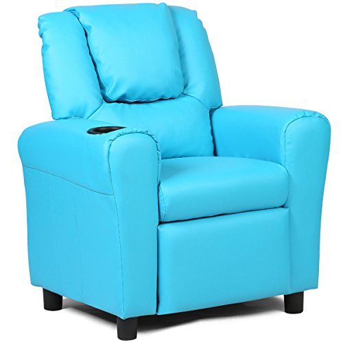- Costzon Contemporary Kids Recliner, PU Leather Lounge Furniture for Boys & Girls W/Cup Holder, Children Sofa Chair (Blue)