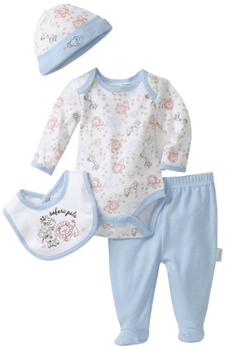 Vitamins Baby Boy Newborn Safari Pals Four-Piece Creeper Pant Set
