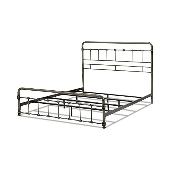 Leggett & Platt Fremont Metal SNAP Bed with Folding Frame Bedding Support System and Rounded Edge Panels, Weathered…