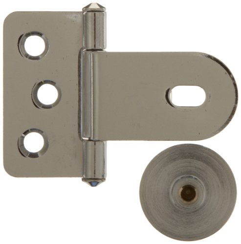 Sugatsune GH-34/0/CR-P Steel Inset Glass Door Hinge with Rounded plate, Chrome Plated, 3mm Leaf Thickness, 52.5mm Open Width, 5mm Pin Diameter, 18mm Knuckle Length, 38.5mm Height by LAMP by Sugatsune