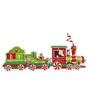 Escritorio calendario, inkach Navidad tren de madera calendario de adornos de Navidad decoración regalos