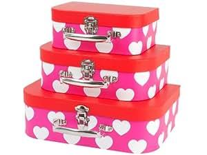 Jip - Maletines de cartón par almacenaje, diseño de corazones, color rojo y rosa