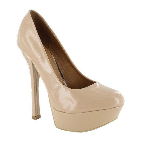 Footwear Sensation - Sandalias de vestir de sintético para mujer Beige - Nude Patent