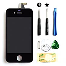 APPLE IPHONE 4S LCD Display Touchscreen Front Glass Digitizer Glass assembly Black incl. Free 7 piece premium Toolkit and manual with Step by Step Instructions