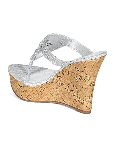 7ca33beaaa Women Glitter Leatherette Stone Decor Platform Thong Cork Heel Wedge Sandal  CC10 - Silver