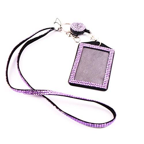 Girl Badge - QIDUN girl Badge Holder Rhinestone Lanyard Bling Crystal Necklace Badge Card Holder for Business Id/key/cell Phone(light purple)