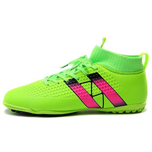 Xing Lin Fußballschuhe Fußball-Schuhe Schuhe Der Männlichen Spike Nagel Kaputt Kinder Tf Hohe Rutschfeste Verschleiß Kunstrasen Turnschuhe, 44, Fluoreszierend Grün
