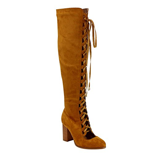 ATHENA EE54 Womens Cut Out Lace Up Side Zipper High Stacked Over Knee High Boot Camel zHs7XK