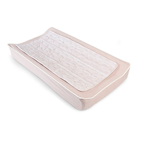 Oilo ZigZag Chaning Pad Cover & Topper Kit, Blush by Oilo