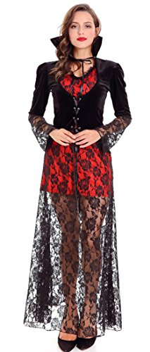 Mumentfienlis Womens Midnight Vampire Girl Costume Dress Floral Halloween Costume Size S (Midnight Vampire Costume Child)