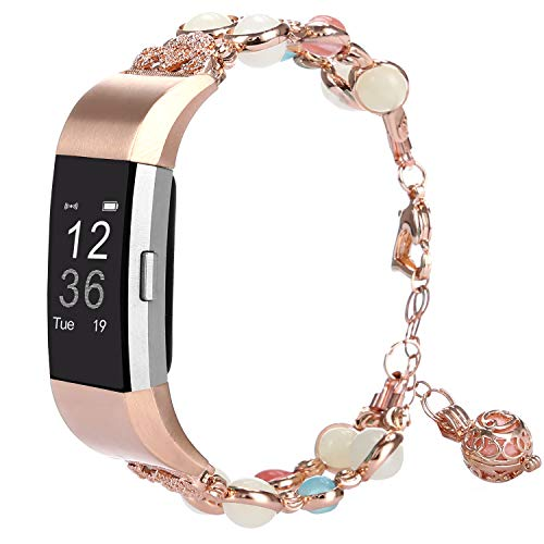 TILON Compatible for Fitbit Charge 2 Band, Adjustable Metal Link Wristband Handmade Night Luminous Pearl iWatch Bracelet with Essential Oil/Perfume Storage Pendant for Women/Girls(Rose Gold)