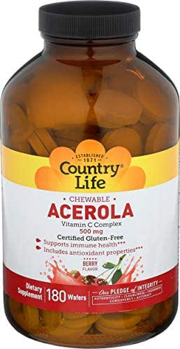Country Life Chewable Acerola - Berry Flavor Vitamin C-Complex - 500 mg,180 Wafers