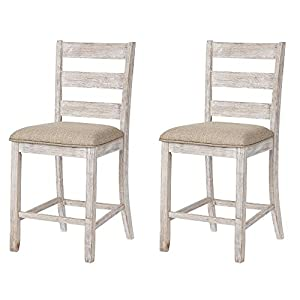 "Signature Design by Ashley Skempton 24"" Counter Height Barstool Set of 2, Antique White"