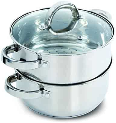 Oster 108132.03 Sangerfield Steamer Set with Lid for Stovetop Use, Stainless Steel