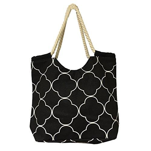 Ever Moda Quatrefoil Rope Handle Canvas Tote Bag (Black)