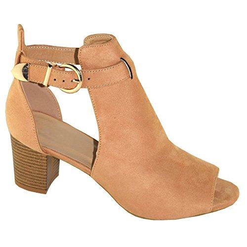 Womens Suede Look Cut Away Buckle Shoes Beige Suede Jab6ShBUl