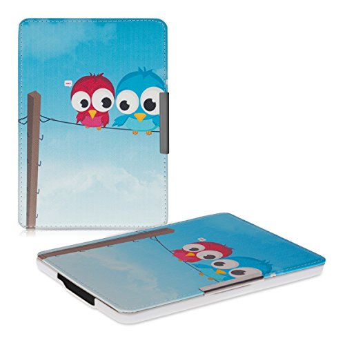kwmobile Case for Amazon Kindle Paperwhite - Book Style PU Leather Protective e-Reader Cover Folio Case - blue red light blue by kwmobile (Image #8)
