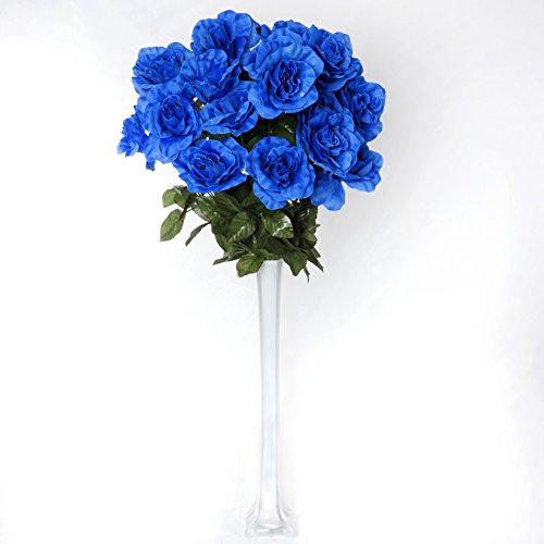 BalsaCircle 96 Royal Blue Silk Giant Open Roses - 4 bushes - Artificial Flowers Wedding Party Centerpieces Arrangements Bouquets