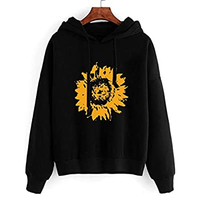 COOKI Women's Hoodies Sunflower Print Pullover Hoodie Loose Long Sleeve Hooded Sweatshirts Sweaters Jumper Tops Shirts at  Women's Clothing store