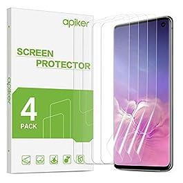 apiker S10 Screen Protector [4 Pack] Samsung S10 Screen Protector Soft TPU[Not Wet Applied] [Support Fingerprint Sensor…