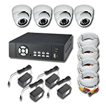 NETZEYE DVR8024D1KIT 4-channel H264 digital video recorder w/500G 4x CAMJID948/W 3.6mm Lens (480 TV Line w/ 20 LED) 4 X 12V 1000mA power transformer 4 x 50ft pre make cable. (DVR include remote control and USB mouse)