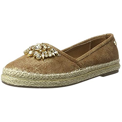 Xti Camel Metallic Textile Ladies Shoes, Espadrilles Femme
