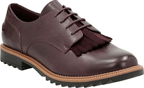 Clarks Women's Griffin Mabel Oxford,Aubergine Leather,US 7.5 M