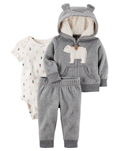 Polar Bear Outfit (Carter's Baby Boys' 3-24 Months 3 Piece Polar Bear Print Little Jacket Set ,Gray,18)
