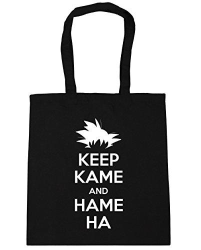 HippoWarehouse Keep Kame y Hame Ha Tote Compras Bolsa de playa 42cm x38cm, 10litros negro