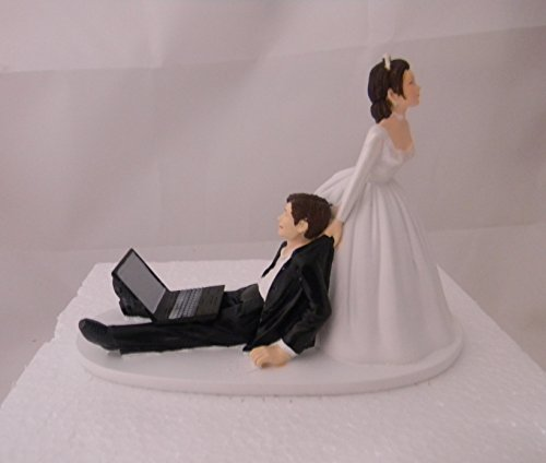 Wedding Party Computer Laptop Computer both dark hair Geek Cake (Computer Cake Topper)
