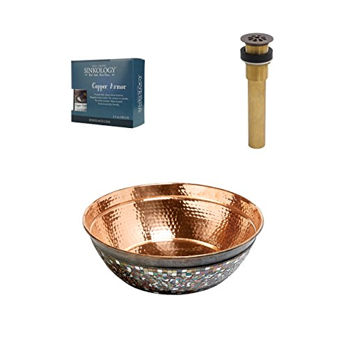 Sinkology SB302-16NU-AMZ-TG Bardeen Copper Bath Sink, 16 x 16 x 7