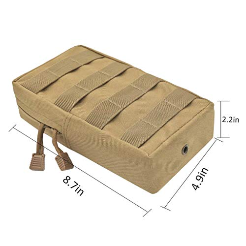 2x Waist Hiking Camp Pocket Phone Bags Molle Military Tan Belt Pouch URSfq