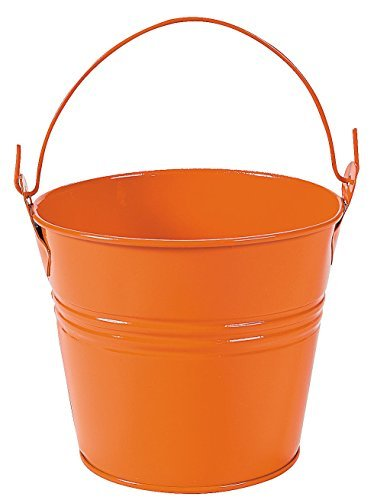 Mini Orange Pails with Handles (12 Pack) Metal. - Party Decorations & Pails & -
