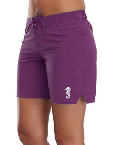 ALove Women Stretch Board Shorts Long Swim Shorts Trunks Boyleg Swim Bottom Medium Purple