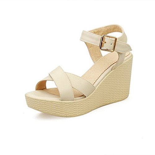 AllhqFashion Women's Open Toe High Heels Buckle Solid Sandals Beige