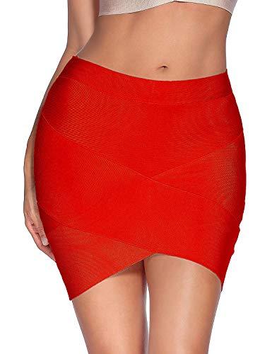 Meilun Women's Rayon Bandage Bodycon Mini Skirt (XL, -