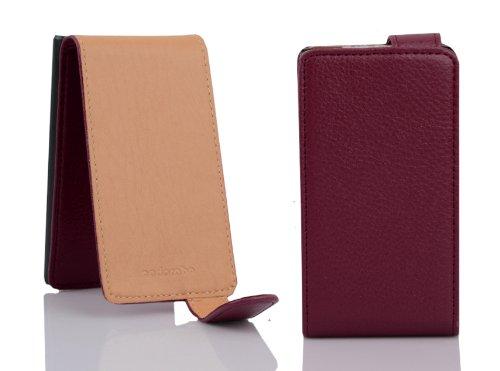 Cadorabo - Funda Flip Style para Nokia Lumia 800 de Cuero Sintético - Etui Case Cover Carcasa Caja Protección en ROJO-INFIERNO BURDEOS-VIOLETA