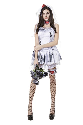 [Honeystore Women's Haunting Beauty Ghost Bride Spirit Halloween Costume] (Zombie Costume Ideas For Adults)