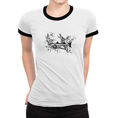 Idakoos Barracuda Sketch Ringer Women T-Shirt L White
