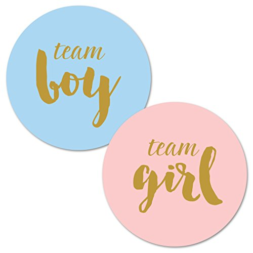 Gender Reveal Stickers - Team Boy and Team Girl Baby Shower Stickers - 40 count