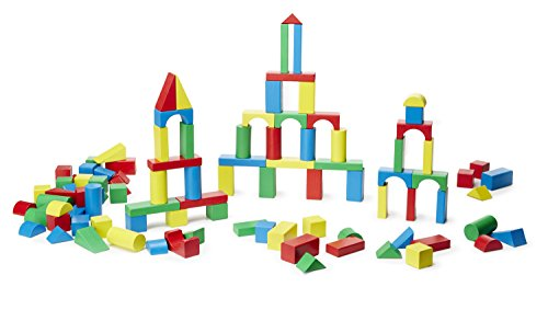 Large Product Image of Melissa & Doug Wooden Building Blocks Set - 100 Blocks in 4 Colors and 9 Shapes