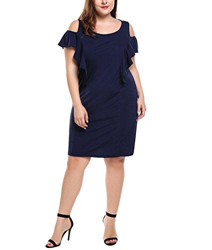 Meaneor Women's Cut Out Cold Shoulder Scoop Neck Short Flutter Sleeve (Flutter Sleeve Mini Dress)