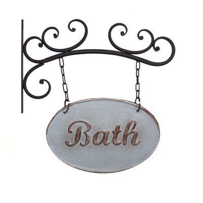 Wall Mounted Metal Bath Sign (Decorative Signs Bathroom)