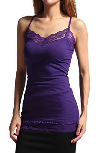 - TheMogan Women's Lace Trim Spaghetti Strap Cami Tank Top S~3XL Dark Purple 2XL