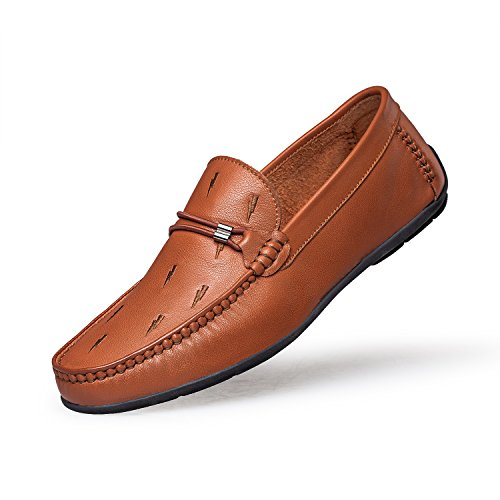 ZRO Men's Fashion Casual Bit Slip-On Moc Toe Loafer Leather Shoes BROWN US 10