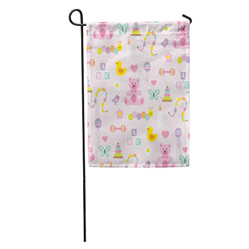 Semtomn Garden Flag Duck Baby Girl Pattern on Pink Infant Bear Bird Bottle Home Yard House Decor Barnner Outdoor Stand 28x40 Inches - Rattle Duckie
