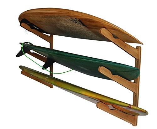 Cor Surf Surfboard Wall Rack | Holds 3 Surfboards | Bamboo Home Storage Mount and Display for Surfboard | Works with Longboard or Shortboards