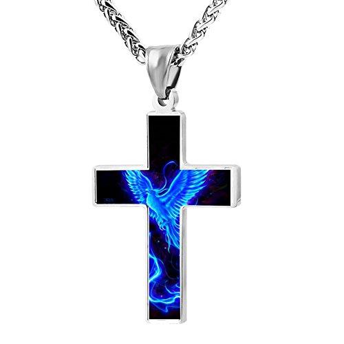 Kenlove87 Patriotic Cross Blue Phoenix Religious Lord'S Zinc Jewelry Pendant Necklace