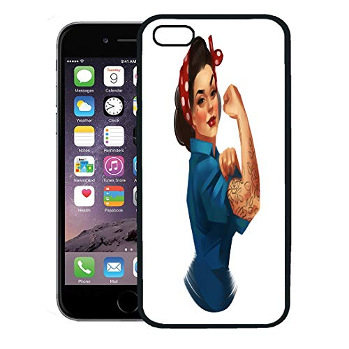 Semtomn Phone Case for iPhone 8 Plus case,We Can Do It Iconic Woman Fist Symbol of Female Power and Industry Modern Inspired by Classic American iPhone 7 Plus case Cover,Black